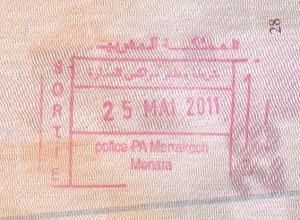 Maroko - pieczątka wyjazdowa