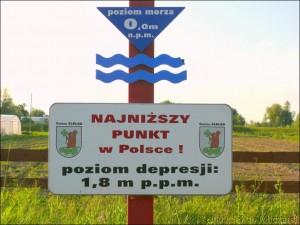 Tabliczka informacyjna o najniższym punkcie w Polsce