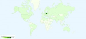 Kraje, zktórychodwiedzano milczarek.eu w2009 roku
